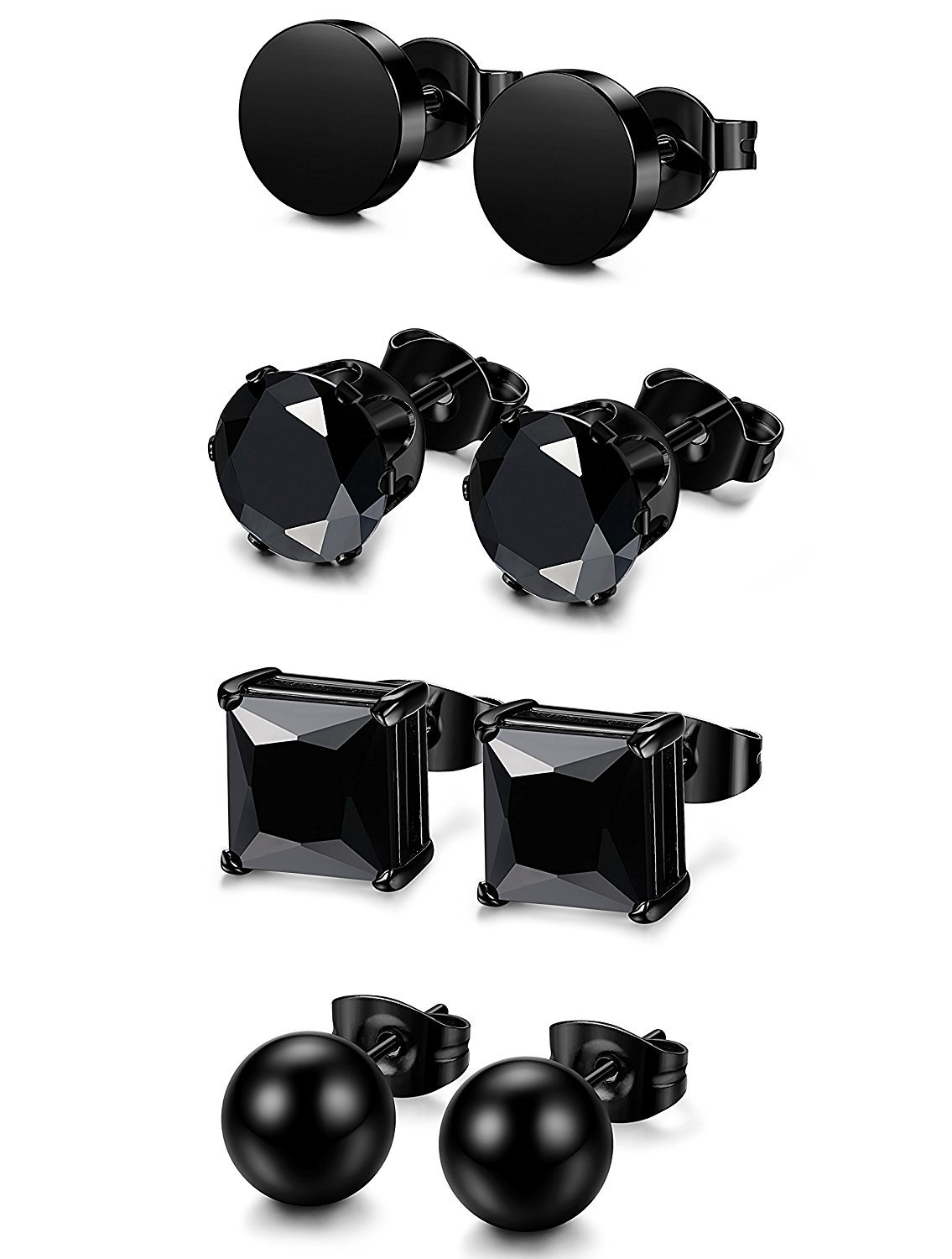 BESTEEL 4Pairs Stainless Steel Earrings Stud for Men Women Balls Earrings Round Cartilage CZ Black 4-8MM