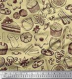 Soimoi Beige Baumwoll-Popeline Stoff Cupcake, Kekse &