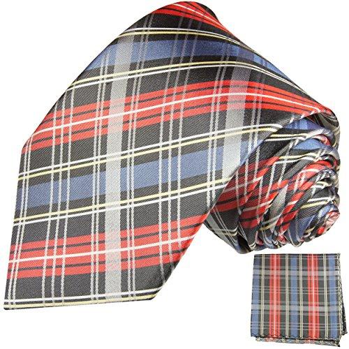 Cravate homme bleu rouge tartan ensemble de cravate 2 Pièces ( longueur 165cm )