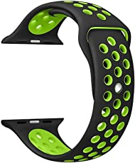 Shopizone 42mm Replacement Quick Release Sports Silicone Sport iWatch Braclet Strap Band for Apple Watch Series 1 2 & 3(Black Green)