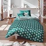 Traumschlaf Biber Bettwäsche Sterne grün 135x200 cm + 80x80 cm