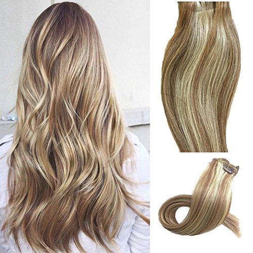 Clip in set da extension, 100% veri capelli, 7 parti in 38, 45, 50 o 55 cm di lunghezza (38cm, no.12/613 marrone dorato - luce bionda)
