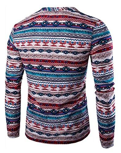 CeRui Casuale Moda Stampa Magliette Manica Lunga Scollo a V T Shirt Stampate da Uomo Rosso
