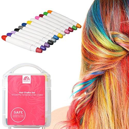 MojiDecor Haarkreide Gesichtsbemalung Glitter Temporäre Haarkreide, 12 Farben Hair Chalk Set für Karneval, Halloween, Partys, temporäre Haarfarbe ungiftig, auswaschbar, Arbeiten auf allen Haararten für Kinder Teenager Erwachsene