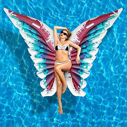 WEGCJU Aufblasbare Pool Float Schmetterlingsform Blow Up Beach Toy Für Kinder Und Erwachsene Angel Wings Aufblasbare Schwimmfloß PVC Pool Lounger,Blue (Blow-up-pool-lounger)