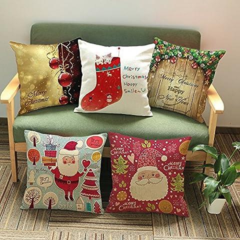 CAROLWU I Nuovi Cuscini Cuscino Dono Cotone Personalizzato Babbo Natale Di Personalità Creativa , C , 45*45 Matt Denim