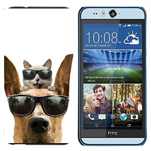 GIFT CHOICE / Dimagriscono Duro Custodia protettiva Caso Cassa Slim Hard Protective Case SmartPhone Cover for HTC Desire Eye M910x // Cat Great Dane Sunglasses Shades Summer //