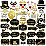Konsait DIY Photo Booth Props Cumpleaños 70 Años cabina de fotos accesorios Photocall máscaras Gafas en Palos para negro y oro 70 Años de Antigüedad Fiesta de Cumpleaños Decoraciones (50pcs)