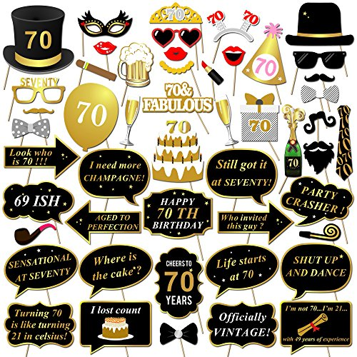 Konsait 70th Birthday Photo Booth Props Celebrations Party Glasses Mask On Stick For Man Woman Black And Gold