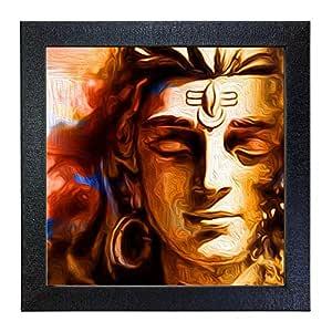 Sehaz Artworks Shiva Sankar Mahakal Wall Photo Printed Painting for Wall Decorative (Carbon Fiber Framed, 30 cm x 30 cm x 3 cm, Black SZA-Shiva_005)
