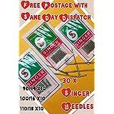 3Pack de 10Singer Agujas para máquina de coser doméstica, 2020/90/14, 2020/100/16& 2020/110/18, rápido y gastos de envío gratis