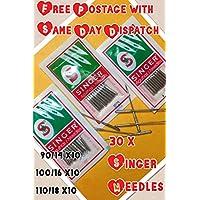 3 lotes de 10 agujas para máquina de coser doméstica, marca Singer, tamaños 14