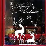 Natale Adesivi Display Rimovibile Natale Addobbi Renna Murali Fai da te Finestra Decorazione Vetrina Adesivi e murali da parete Sticker decorativi (2fogli X 25 * 70cm) (Bianca)