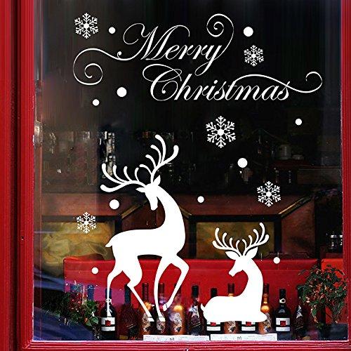 Tuopuda® natale decorazioni murali elk alberi di natale adesivi vetro finestra natale vetrofanie rimovibili wallpaper (elk)