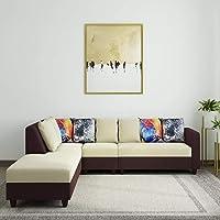 Furny Castilla Fabric 6 Seater LHS L Shape Sofa Set (Cream - Brown)