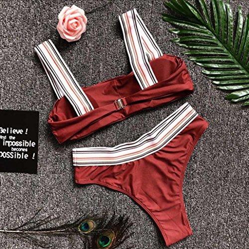Tpulling Femmes push-up rembourrés soutien-gorge Bikini [ maillot de bain femme 2 pieces ] Wine