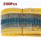 SODIAL(R) 2100 x Kit de Resistor de Pelicula Metalica 21 Valores (1 ohm~1M ohm) 1/4W 0.25W 1% Resistor Surtido