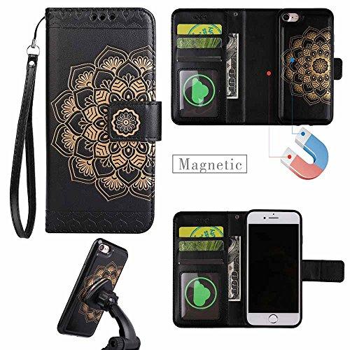 IPhone 5 / 5s / SE Mandala abnehmbare Portabilität Hülle [Mit freiem Schirm-Schutz], COOSTOREEU Multifunktions-2-in-1 Magnetische abtrennbare, abnehmbare PU-Leder-Etui MIT [Handschlaufe] Flip Cover mi schwarz