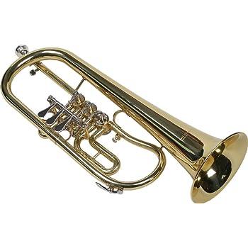 Rucksackkoffer Musik & Instrumente Wunderschönes Flügelhorn mit Schallstück aus Goldmessing inkl