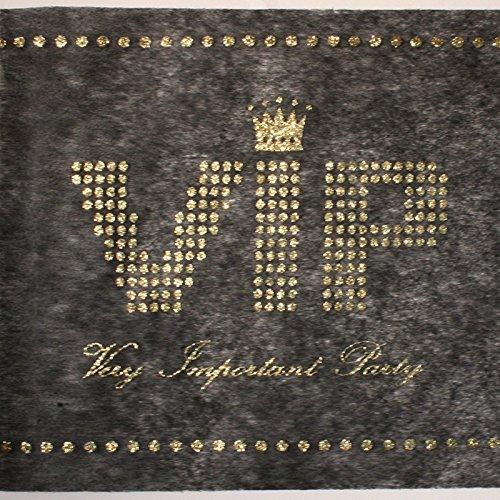 Santex VIP Tischläufer mit Gold glitzerndem Schriftzug, Vlies, 5m