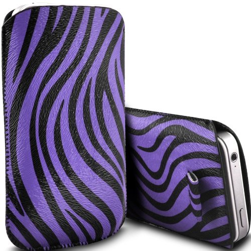 Deet TM244, Lila, Apple iPhone 4/4S, Zebra-Design, Kunstleder, mit LASCHE - Iphone 4-zebra