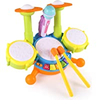 Zistainz Kids Drum Set, Drum Set for Kids Electric Toys Toddler Musical Instruments Playset Flash Light Toy with…