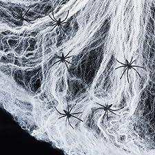 Dieses Halloween Spinnennetz ist die perfekte Halloween Party Deko. Verleihen Sie Ihrem Esstisch einen gruseligen Look oder platzieren Sie das Spinnenweben und die Spinnen auf der Fensterbank und bringen Ihre Partygäste zum Gruseln. Das Spinnennetz i...