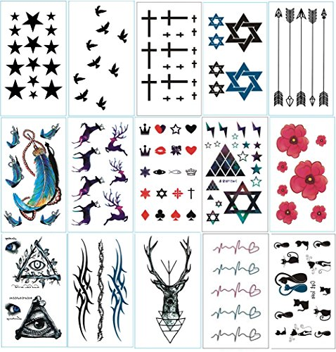 chileeany-lot-de-15-tatouages-temporaire-tattoos-etanche-105-x-6-cmmotifs-varies