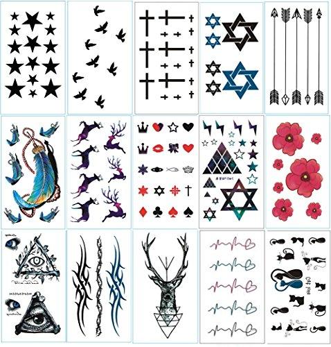 Chileeany set di 15 fogli tatuaggi temporanei,impermeabile tatuaggio temporaneo 10.5 × 6cm