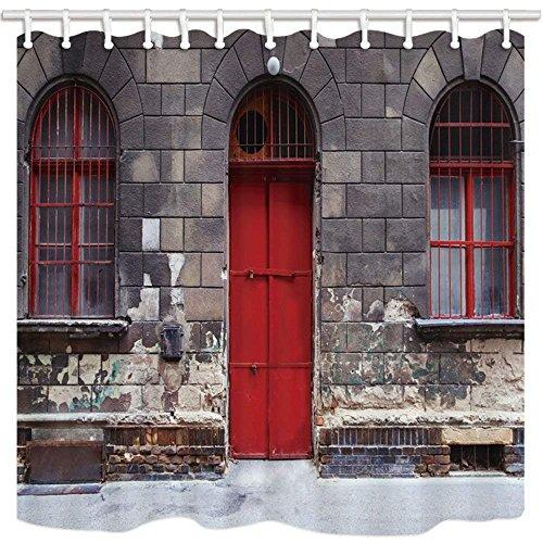 CDHBH Travel europäischen City Scenery Bad Vorhänge für Badezimmer Young Girl auf Rot Tür mit Brick Wall Schimmelresistent Stoff Duschvorhang Dusche Vorhang Haken Enthalten 180,3x 180,3cm