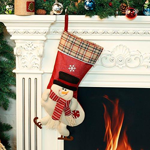 rumpf Weihnachtsstrümpfe Socken für Zuckerbeutel Geschenk XXL Größe 21*50*24 CM Aus Baumwollematerial Schneeman/ Elch/ Nicolaus Weihnachtsbaum Deko Nikolausstiefel (Casino-tisch Dekorationen)