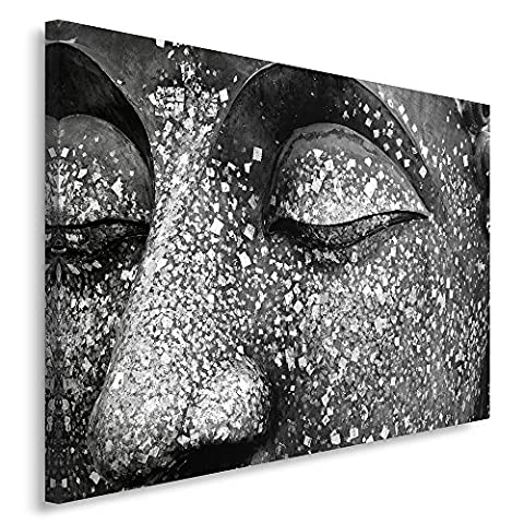 Feeby Frames, Single Panel Canvas, Wall Art Picture, Canvas Picture, Decorative Picture, 70x100 cm, ZEN, BUDDHA, STATUE, MEDITATION, BLACK AND WHITE