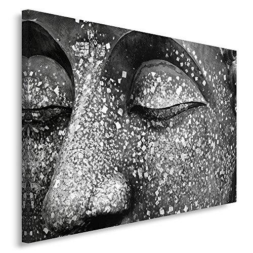 Feeby Frames, Quadro pannelli, Pannello singolo, Quadro su tela, Stampa artistica, Canvas 60x80 cm, ZEN, BUDDHA, STATUA, MEDITAZIONE, NERO E BIANCO
