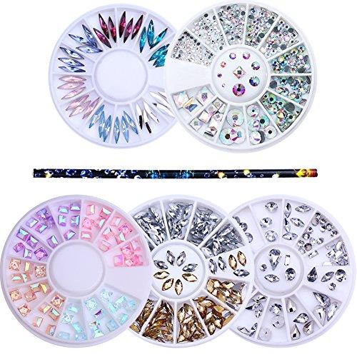 NICOLE DIARY 3D Manucure Design Kit - 5 boîtes Nail strass coloré Marquise fond plat résine carrée 3D Nail Art décoration en roue avec 1Pc cire stylo strass goujons Picker Nail Art outil