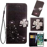 Artfeel - Funda de piel con tapa para iPhone 6 Plus y 6S Plus de 5,5 pulgadas, diseño de flores de cristal con brillantes, cierre magnético, con soporte para tarjetas de crédito y correa de muñeca de mano