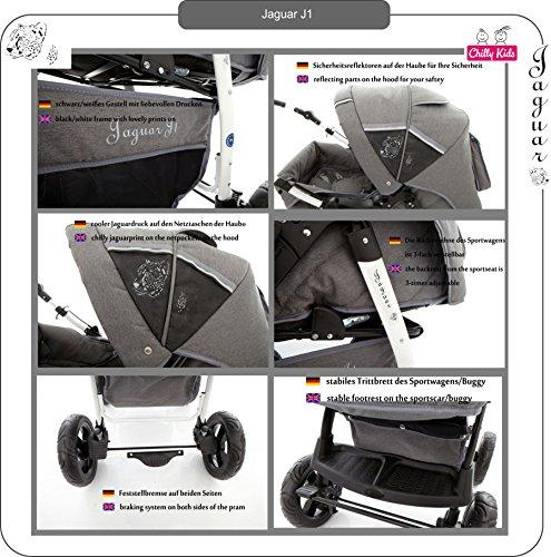 Chilly Kids Jaguar J1 Kombikinderwagen (Regenschutz, Moskitonetz) 56 Safarigrey -