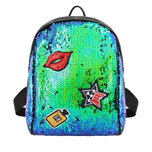 Novias Boutique Frauen Mädchen Mode Pailletten Rucksack Schultertasche Party Tasche für die Reise (grün) grün
