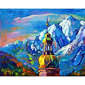 PB Artwork Of Church In Front Of Mountain Landscape Peel & Stick Vinyl Wall Sticker Decal 25.1 x 20inch