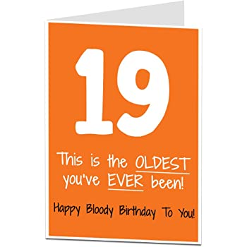 19th Birthday Card Funny Cool Design Perfect For Son Daughter Men Women