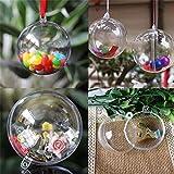 Lalang 12pcs DIY Transparente Kunststoff Kugel Christbaumschmuck, Weihnachtskugeln für Kinder zum Verzieren und Aufhängen