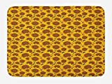 Sunflower Bath Mat, Flowers Garden Meadow Idyllic Harvest Theme Autumn Pattern, Plush Bathroom Decor Mat with Non Slip Backing, 23.6 W X 15.7 W Inches, Earth Yellow Marigold Brown