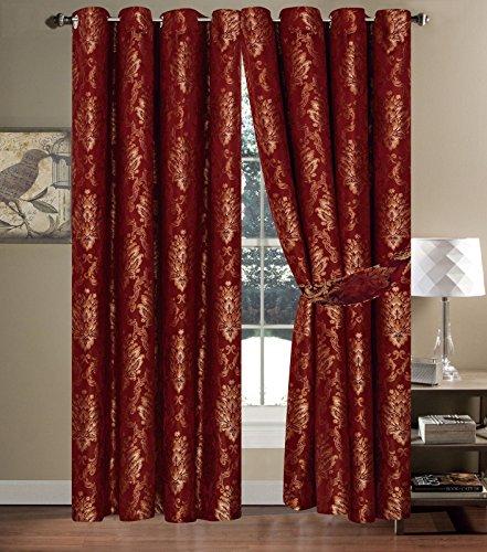 Faith Vorhange Schal mit Ösen Rot Vorhang Gardine Dekoschal mit Ösen Vorhänge 230x230cm Gardine für Wohnzimmer Schlafzimmer -2er set - Rote Ösen