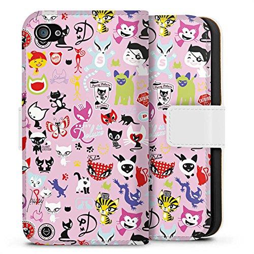 Apple iPhone X Silikon Hülle Case Schutzhülle Comic Katzen Muster Sideflip Tasche weiß