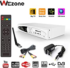 Wezone DVB-S2 Set Top Box Satellite TV Receiver 1080 HD Support PVR and Playback Via USB, Internet, SIM GPRS