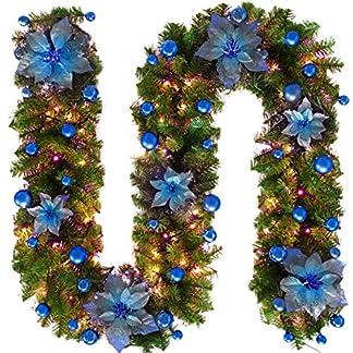 CFPacrobaticS 2.7m Navidad Artificial Flor Vid Vid Rattan Guirnalda Guirnalda Colgando Centro Comercial Bar Jardín Fiesta Decoración Navideña Suministros Azul