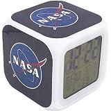 Boyan New NASA Space Aerospace Blue Led Alarm Clock Creative Desk Table Clock Multipurpose Calendar Snooze Glowing Led Digita