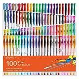 Scriptract Lot de 100 stylos à encre gel pour adulte Couleurs pastel à paillettes Couleurs fluo pastel Idéal coloriage pour enfants Doodling Dessin Peinture (100 couleurs) 100 colours