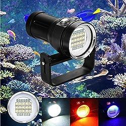 Lampe de poche plongée sous l'eau, huichang 20000Lumen 100m étanche LED taucherlampe avec 4x 18650Batteri pour vidéo
