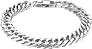 JewelryWe Bracciale Catena da Uomo Durevole in Acciaio Inox 10mm Curb Catena, Colore da Scelta