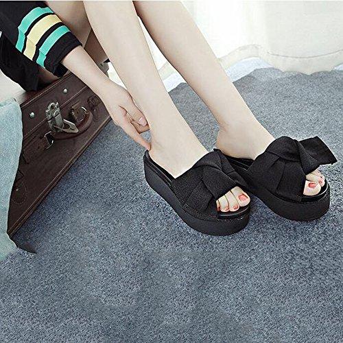 Été des sandales 7CM flip flop Sandales de mode Chaussures de plage féminines Sandales de vacances au bord de la mer (vert, noir) Couleur / taille facultative ( Couleur : Noir , taille : EU36/UK3.5/CN Noir